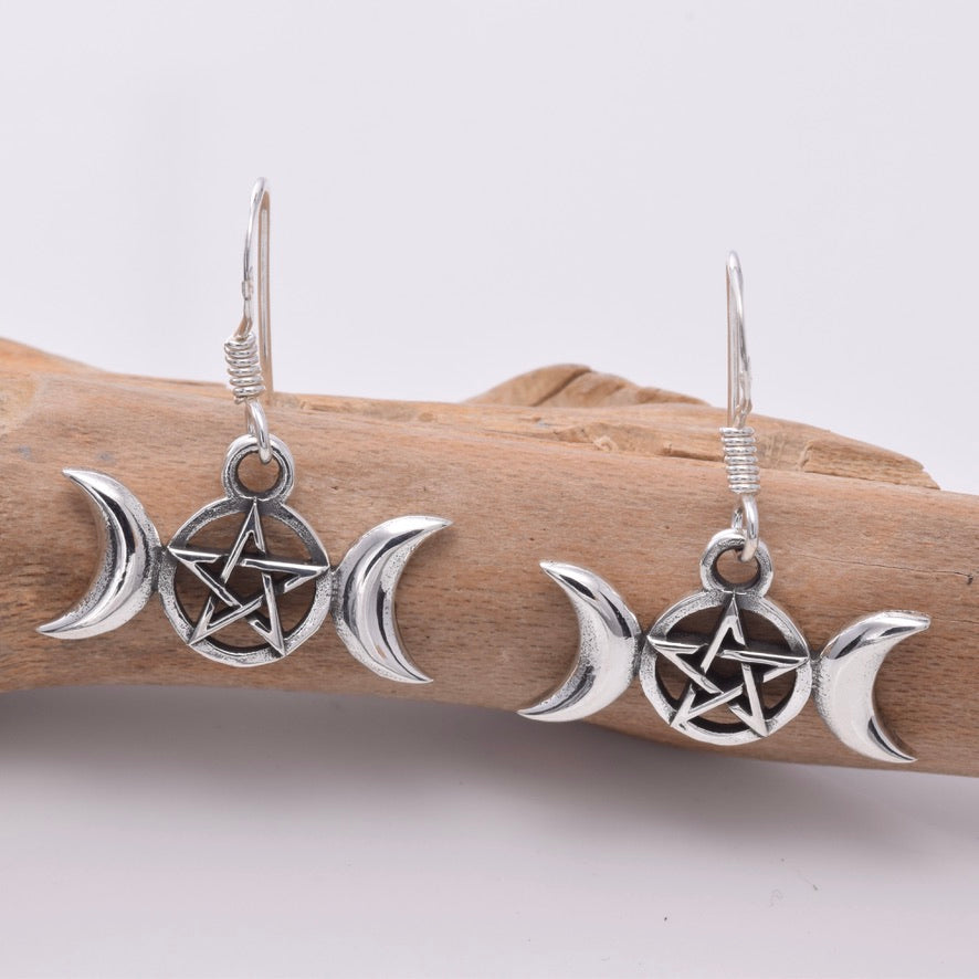 E637 - Sterling silver triple moon earrings