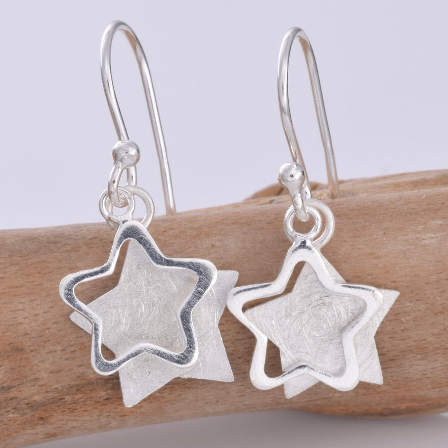 E633 - Silver double star earrings