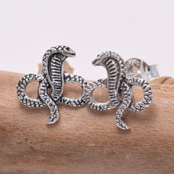 S642 - Sterling silver King Cobra stud earrings