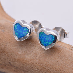 "S412 - Heart ""Fire Opal"" stud earrings"