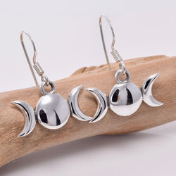 E638 - Sterling silver triple moon drop earrings