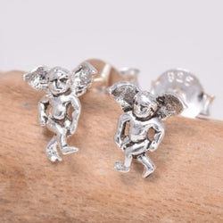 S618 -  Sterling silver standing cat stud earrings