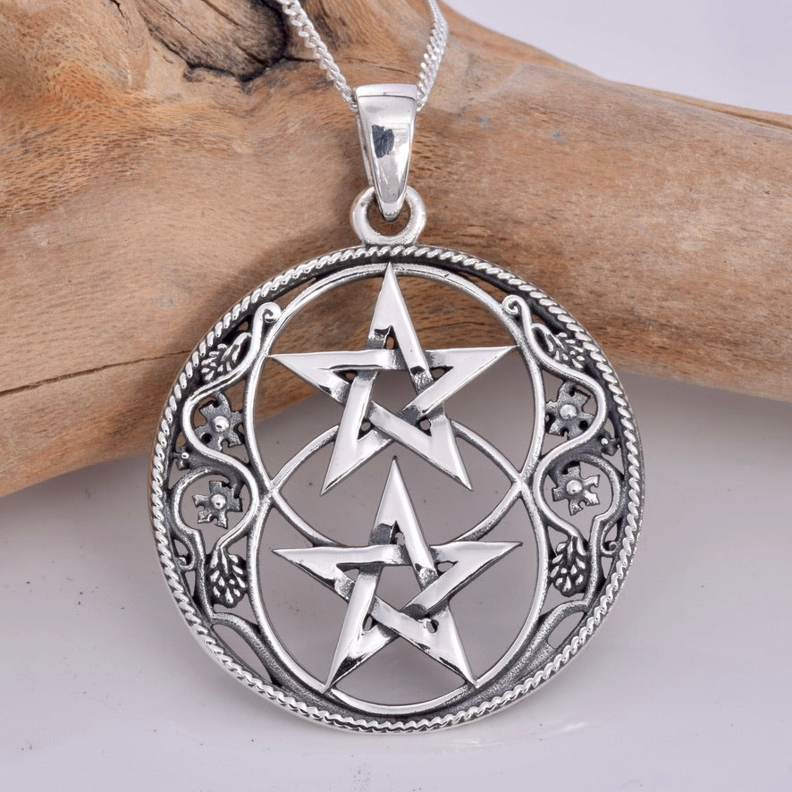 P629 - 925 Chalice Well and Pentagram pendant