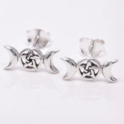 S614 - Silver triple moon stud earrings