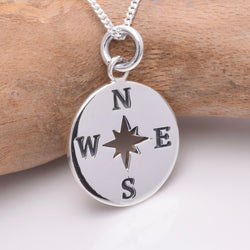 P763 - 925 Sterling silver compass pendant