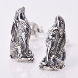 S615 - Sterling silver moongazing hare stud earrings