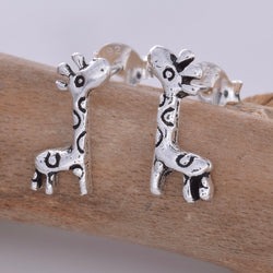S589- Silver giraffe stud earrings