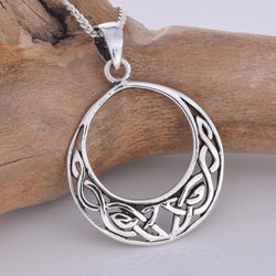 P090 - Round Celtic crescent design pendant.