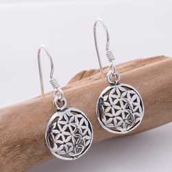 E669 - 925 Silver small flower of life earrings
