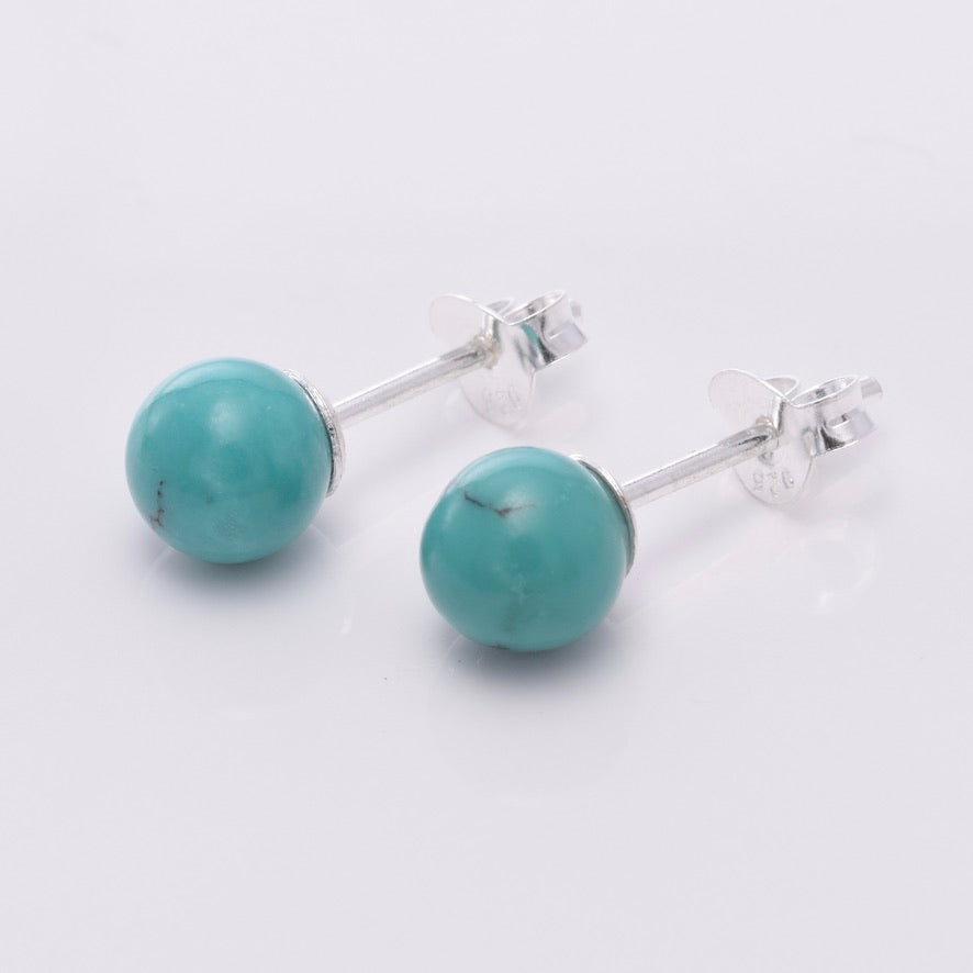S639 - Silver & turquoise ball stud earrings