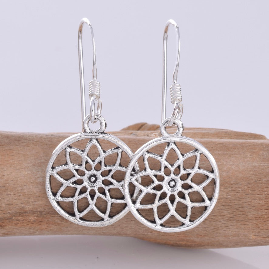 E620 - Mandala disc silver earrings