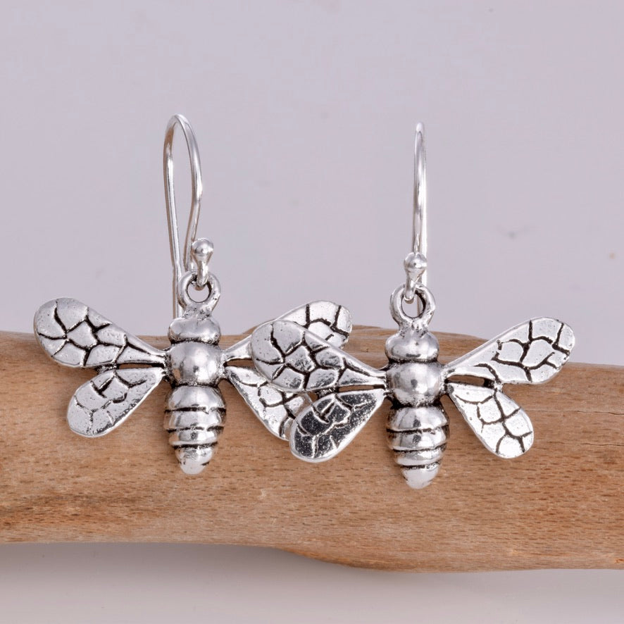 E612 - Sterling silver bee earrings