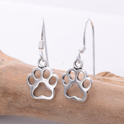 E642 - Silver paw print earrings