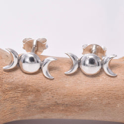 S613 - Silver triple moon stud earrings