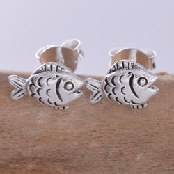 S596 - Silver flatfish stud earrings