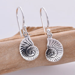 E607 - Nautilus shell drop silver earrings