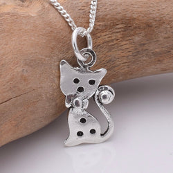 P808 - 925 silver cute cat pendant