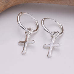 E644 - Silver hoop and cross earrings