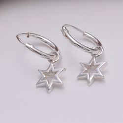 E645 - Silver hoop and six point star earrings