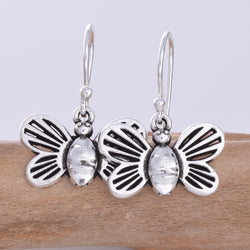 E621 - Silver bee drop earrings