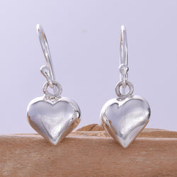 E625 - Puff heart drop earrings