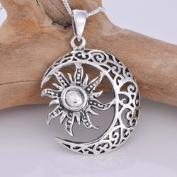 P737 - Sun and crescent moon silver pendant