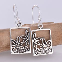 E631 - Rectangle flower earrings