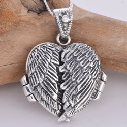 P738 - Angel wing silver locket
