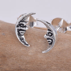 S610 - Silver crescent moon stud earrings