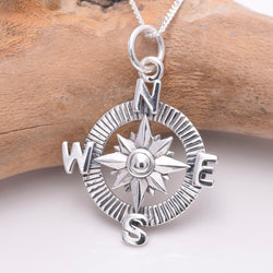P762 - 925 Sterling silver compass pendant