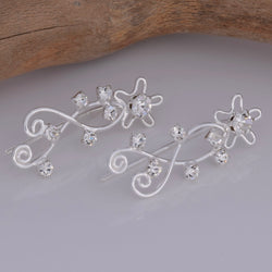 E614 - Silver ear climber with cz stones