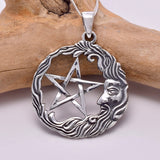 P750 - Wiseman and pentagram silver pendant