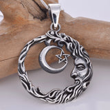 P729 - Wise man crescent moon pendant
