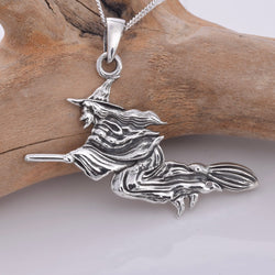 P343 - Flying Witch Sterling silver pendant