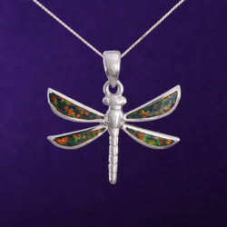 "P614 - Silver Dragonfly pendant with ""fire opal"""