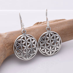 E658 - 925 Silver large flower of life earrings
