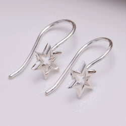 E647 - Silver star thread earrings