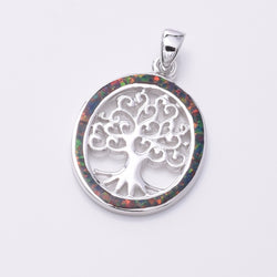 "P609 - Oval Tree Of Life silver pendant with ""Fire Opal"""