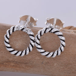 S594 - Braided circle stud earrings