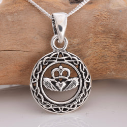 P586 - Celtic Circle and Claddagh symbol silver pendant
