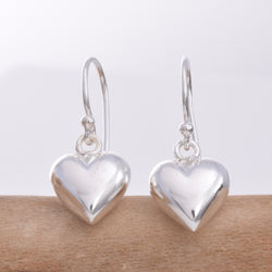 E487 Silver Puff heart drop earring
