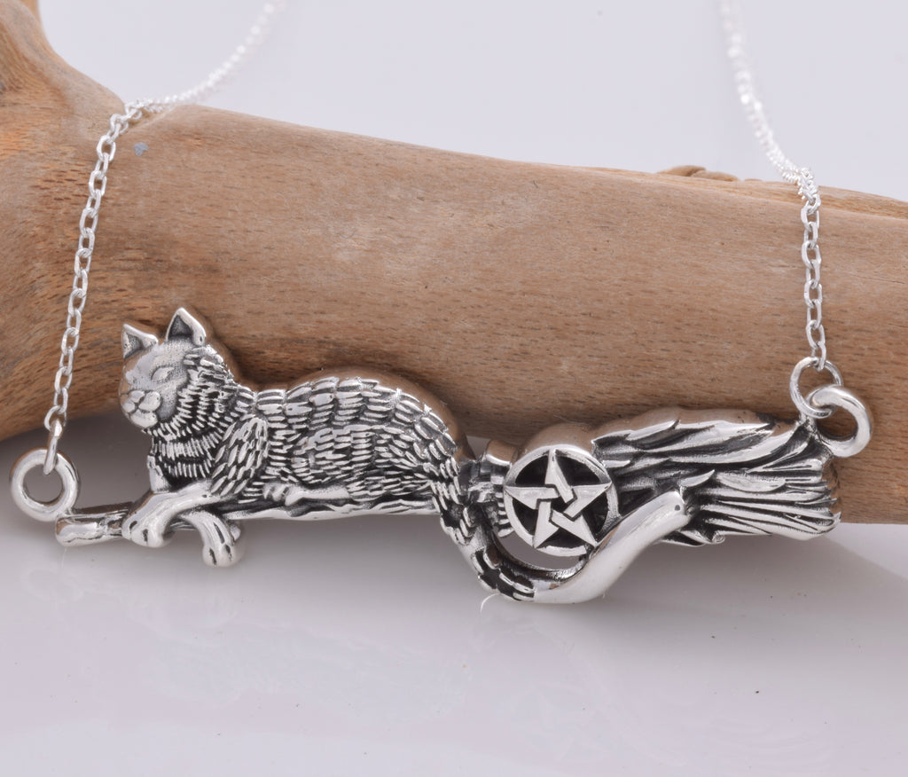 Silver Witches Black Cat & Bessom necklace