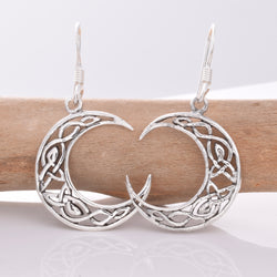 925 silver Celtic moon earrings