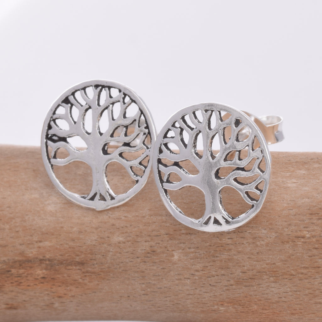 Silver tree of lie stud earrings