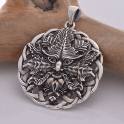 Solid silver green man pendant