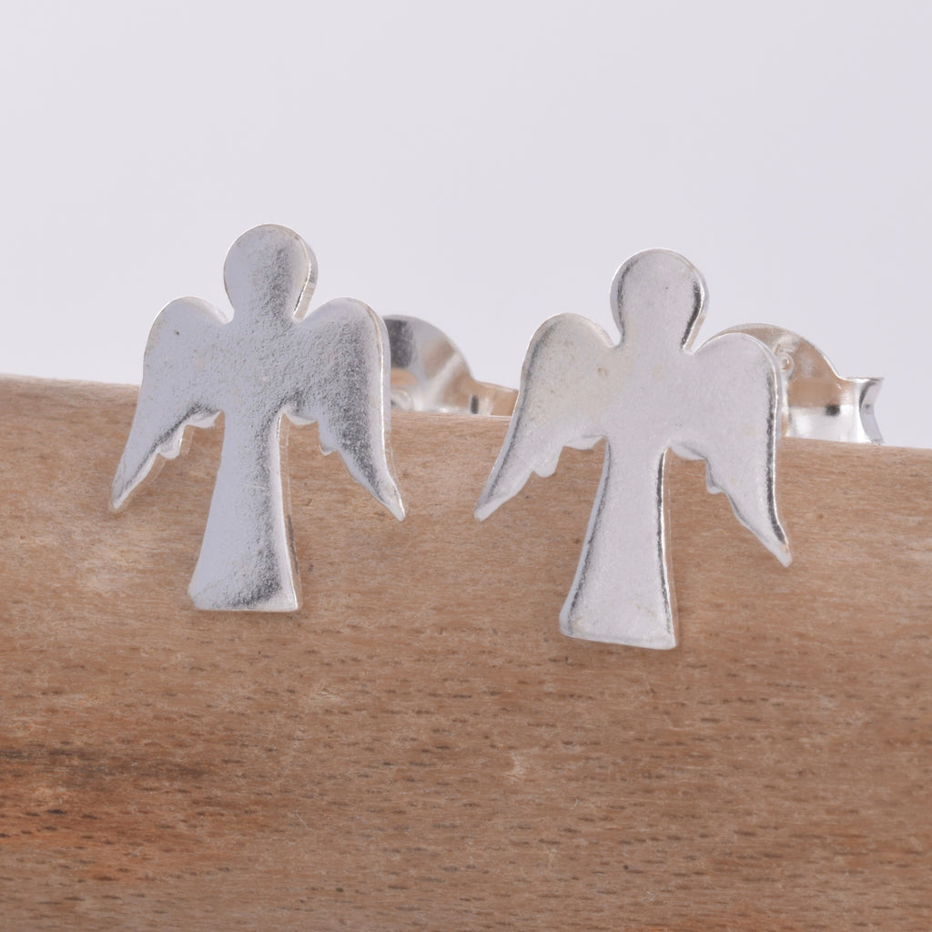S369 - Silver cherub stud earrings