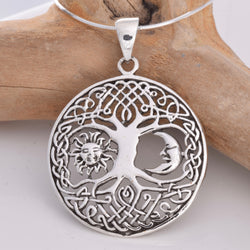 P584 - Tree of life silver pendant