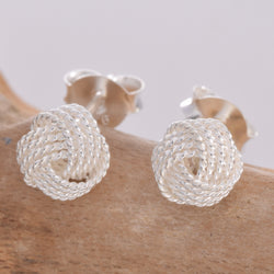 S014-6mm 4 Strand Knotted Stud Earring