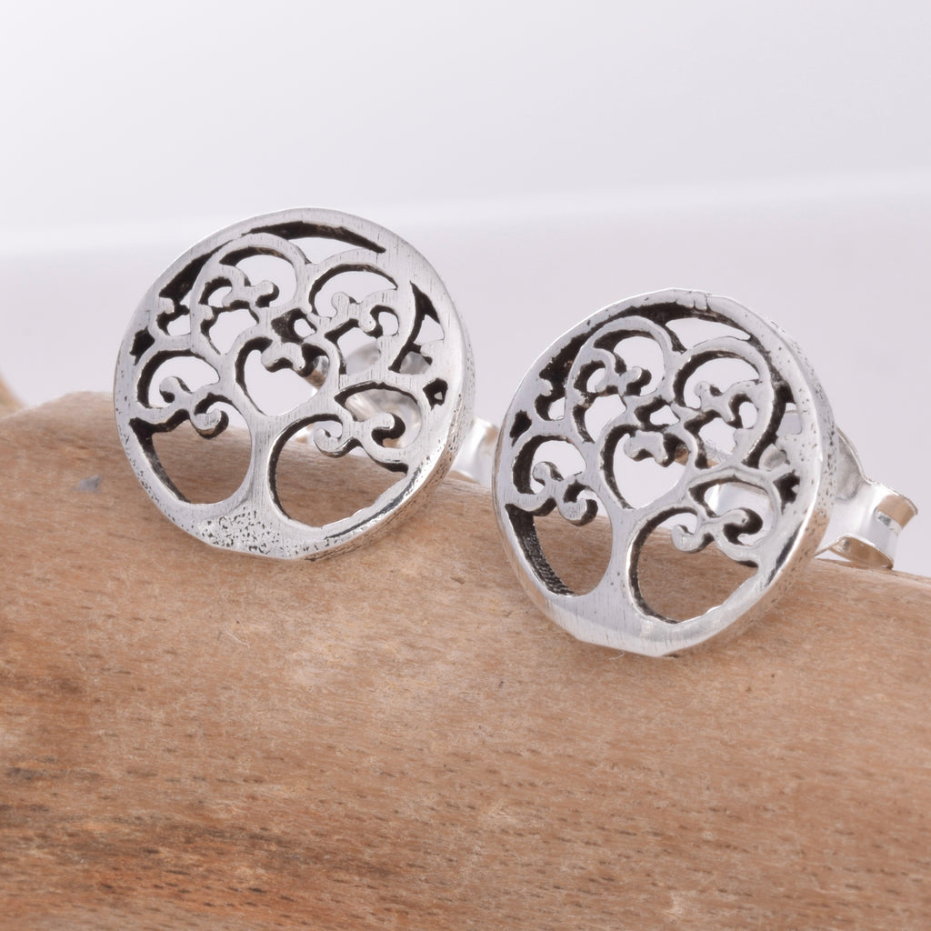 S475 - Tree of life disc stud earrings