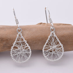 E096 - Wire wrap oval drop earring